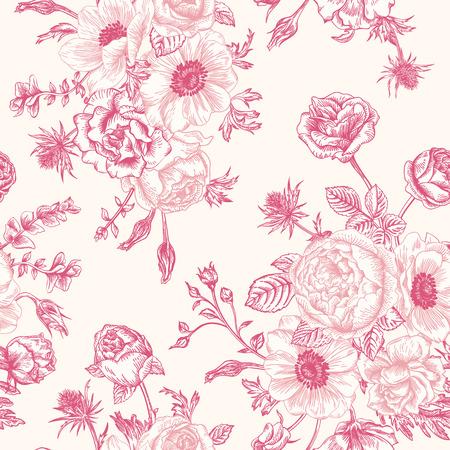 白地にピンクの花の花束とシームレスな花柄。バラ イソギンチャク トルコギキョウ。
