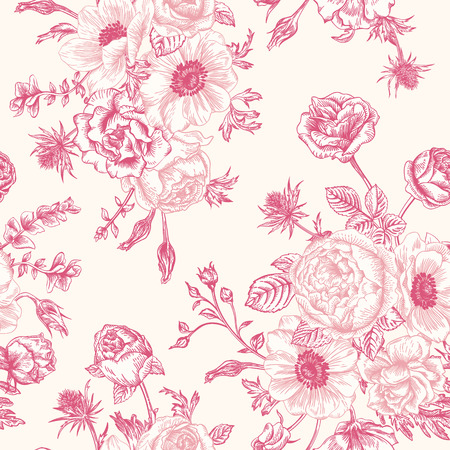 Seamless floral pattern with bouquet of pink flowers on a white background. Roses anemones eustoma.