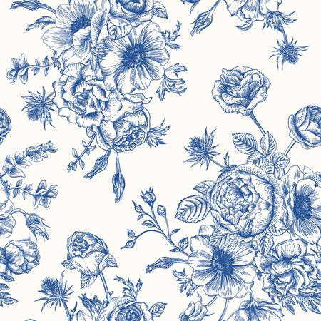 Seamless floral pattern with bouquet of blue flowers on a white background. Roses anemones eustoma.