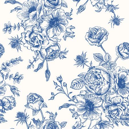 dessin au trait: Seamless floral pattern avec bouquet de fleurs bleues sur un fond blanc. Roses anémones eustoma. Illustration