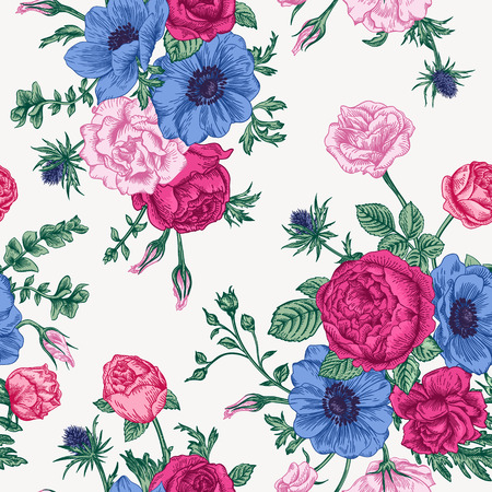 Seamless floral pattern with bouquet of colorful flowers on a white background. Roses anemones eustoma.