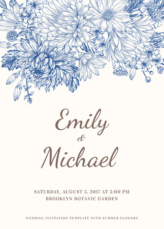 Floral wedding invitation in vintage style