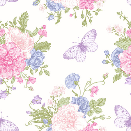 Seamless floral pattern with bouquet of colorful flowers and butterflies on a white background. Peonies roses sweet peas bell. Vector illustration. Иллюстрация