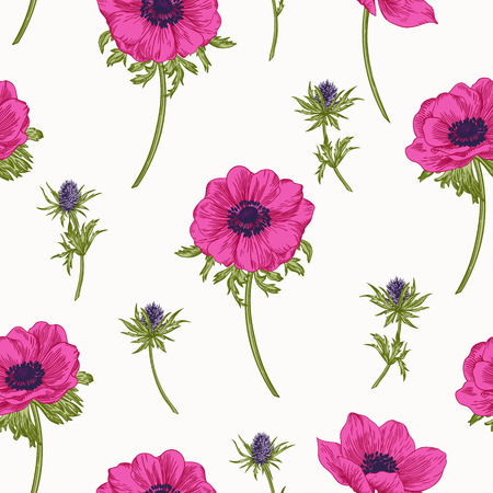 anemones: seamless pattern with anemones flowers. Illustration