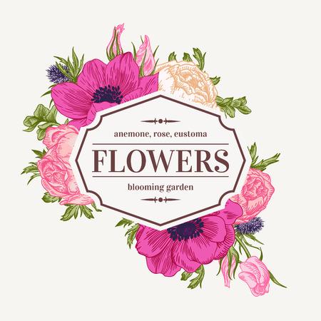Weinlese-Vektor-Rahmen mit Sommerblumen. Anemone, Rose, Eustoma, Eryngium. Illustration