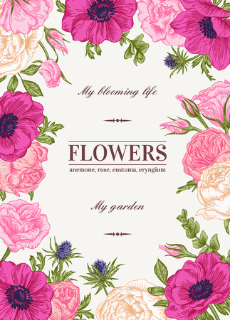 Floral vector background with colorful flowers. Anemone, rose, eustoma, eustoma. Иллюстрация