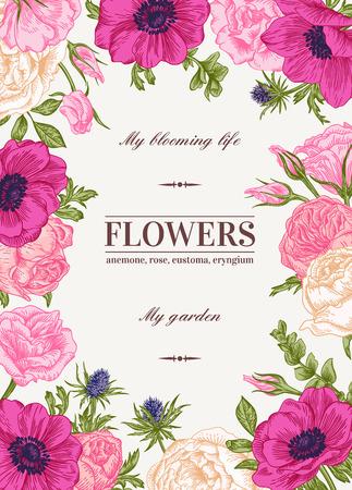 jardines con flores: Vector de fondo floral con flores de colores. Anémona, rosa, eustoma, eustoma.