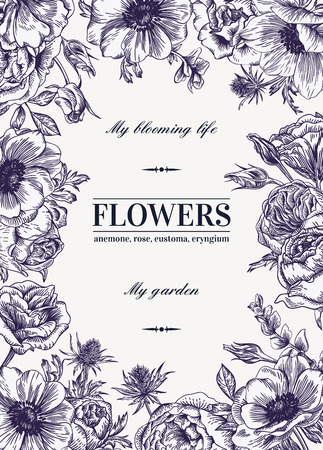 anemone: Floral vector background with flowers. Anemone, rose, eustoma, eustoma. Black and white illustration.