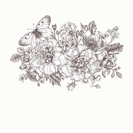 buttercups: Floral background. Card with a bouquet of flowers and a butterfly. Black and white. Peonies, roses, buttercups, peas. Black and white illustration. Illustration