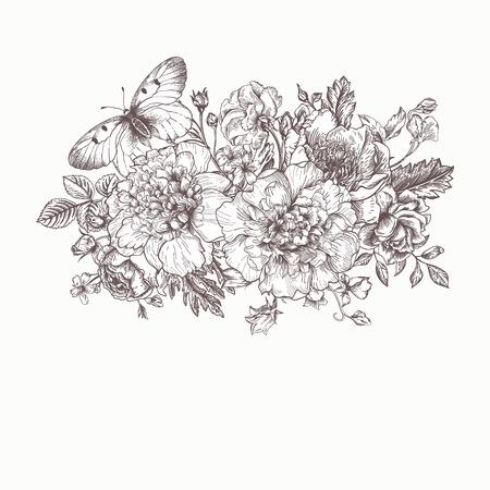 Floral background. Scheda con un mazzo di fiori e una farfalla. Bianco e nero. Peonie, rose, ranuncoli, piselli. Illustrazione in bianco e nero. Archivio Fotografico - 40380098