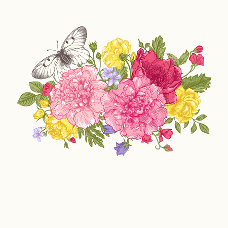 buttercups: Floral background. Card with a bouquet of flowers and a butterfly. Peonies, roses, buttercups, peas.