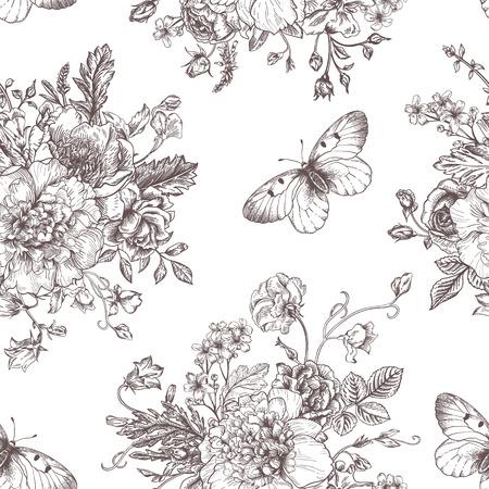 dibujos lineales: Modelo inconsútil de la vendimia del vector con el ramo de flores negras sobre un fondo blanco. Peonías, rosas, guisantes de olor, campana. Monocromo.