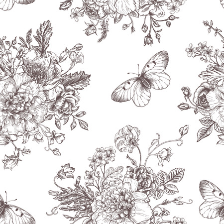 etching pattern: Seamless vector vintage pattern with bouquet of black flowers on a white background. Peonies, roses, sweet peas, bell. Monochrome.