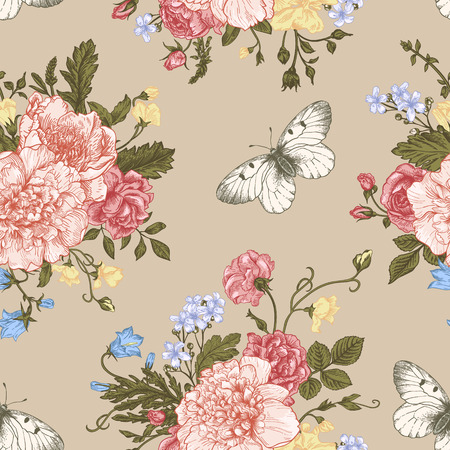 Seamless floral pattern with bouquet of colorful flowers on a white background. Peonies, roses, sweet peas, bell. Vector illustration.
