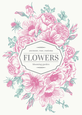 anemone: Vintage wedding card with flowers on a white background. Anemone, rose, eustoma, eryngium. Vector illustration.