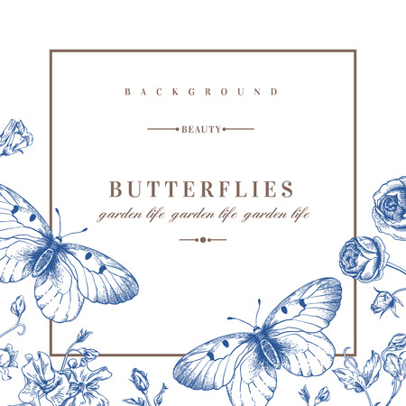 Vector card with butterflies and flowers in blue. Stock Illustratie