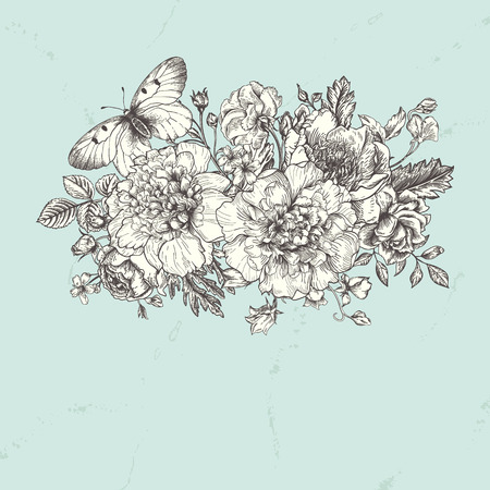 buttercups: Floral background. Card with a bouquet of flowers and a butterfly. Peonies, roses, buttercups, peas. Black and white illustration. Illustration