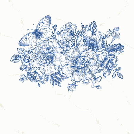 buttercups: Floral background. Card with a bouquet of flowers and a butterfly in blue. Peonies, roses, buttercups, peas. Black and white illustration. Illustration
