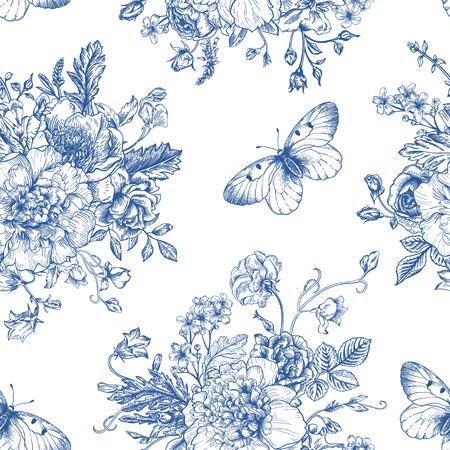 白地に青い花の花束とシームレスなベクトル ビンテージ パターン。シャクヤク、バラ、甘いエンドウ豆、ベル。モノクロ。