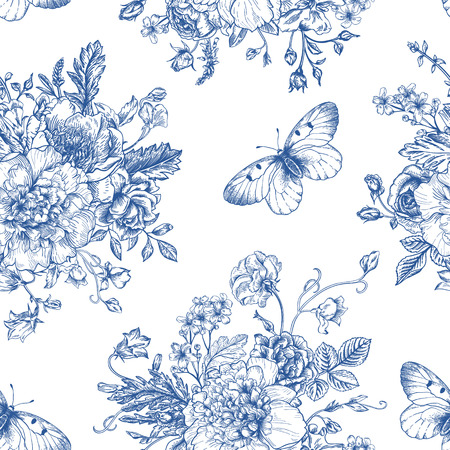 Seamless vector vintage pattern with bouquet of blue flowers on a white background. Peonies, roses, sweet peas, bell. Monochrome. Vettoriali