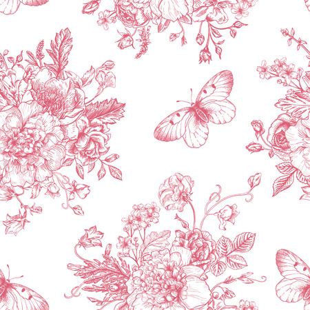 Seamless vector vintage pattern with bouquet of pink flowers on a white background. Peonies, roses, sweet peas, bell. Monochrome.