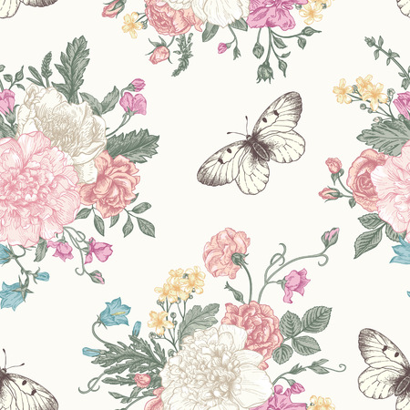 textile fabrics: Seamless floral pattern with bouquet of colorful flowers on a white background. Peonies, roses, sweet peas, bell. Vector illustration.