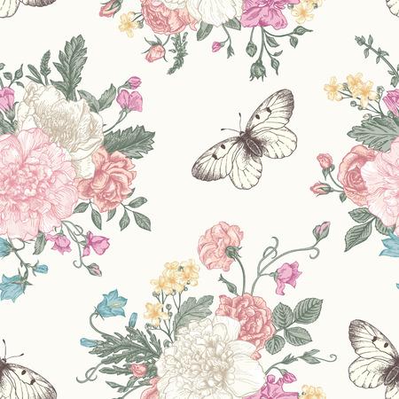 mazzo di fiori: Seamless pattern floreale con bouquet di fiori colorati su uno sfondo bianco. Peonie, rose, piselli dolci, campana. Illustrazione vettoriale. Vettoriali