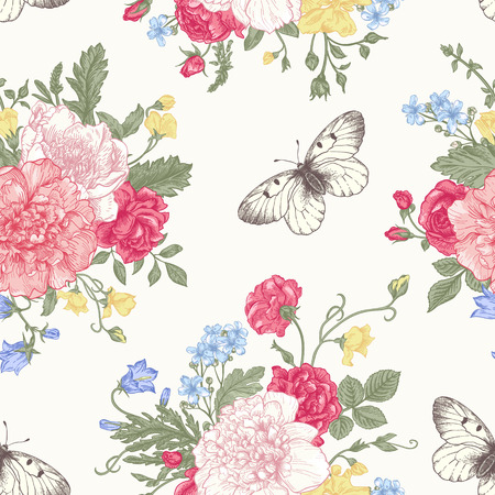 rose butterfly: Seamless floral pattern with bouquet of colorful flowers on a white background. Peonies, roses, sweet peas, bell. Vector illustration.