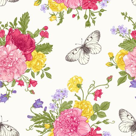 Naadloos bloemenpatroon met boeket van kleurrijke bloemen op een witte achtergrond. Pioenen, rozen, zoete erwten, bel. Vector illustratie. Stock Illustratie
