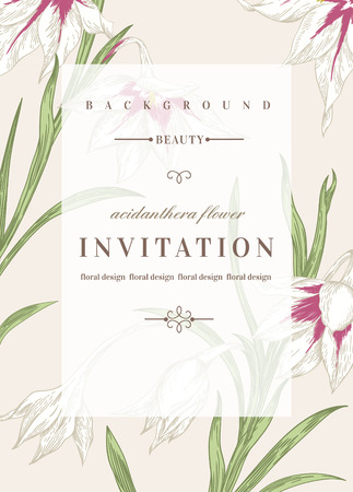 Wedding invitation template with flowers. Acidanthera flowers. Vector illustration. Vettoriali