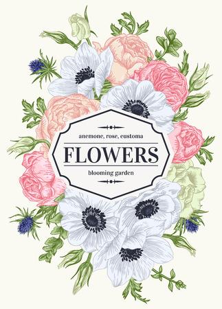 Vintage scheda floreale con fiori del giardino. Anemone, rosa, Eustoma, Eryngium. Sfondo romantico. Illustrazione vettoriale. Vettoriali