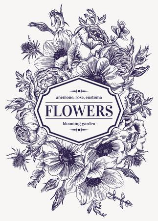 Vintage bruiloft kaart met bloemen op een witte achtergrond. Anemoon, roze, Eustoma, Eryngium. Vector illustratie.