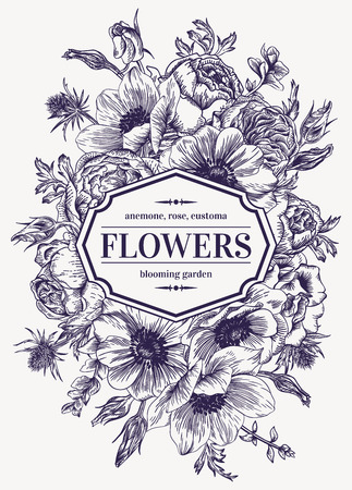 Vintage wedding card with flowers on a white background. Anemone, rose, eustoma, eryngium. Vector illustration.