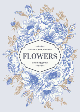 Vintage wedding card with flowers on a gray background. Anemone, rose, eustoma, eryngium. Vector illustration.  イラスト・ベクター素材