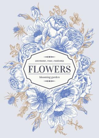 灰色の背景の上に花とビンテージのウェディング カード。アネモネ、バラ、トルコギキョウ、エリンジウム。ベクトルの図。