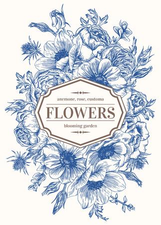 白地に花模様のビンテージのウェディング カード。アネモネ、バラ、トルコギキョウ、エリンジウム。ベクトルの図。  イラスト・ベクター素材