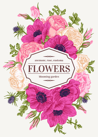 Vintage floral card with garden flowers. Anemone, rose, eustoma, eryngium. Romantic background. Vector illustration. Çizim