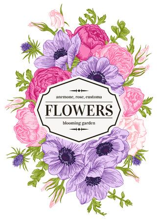 anemone: Vintage floral card with garden flowers. Anemone, rose, eustoma, eryngium. Romantic background. Vector illustration. Illustration
