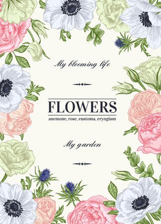 Floral Vektor Hintergrund mit Blumen in den Pastellfarben. Anemone, Rose, Eustoma, Eustoma. Standard-Bild - 40383921