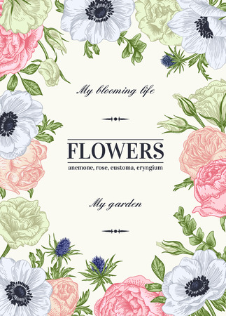 colores pastel: Vector de fondo floral con flores en colores pastel. Anémona, rosa, eustoma, eustoma. Vectores