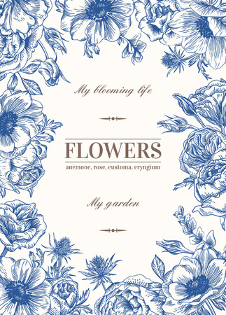 and invites: Floral vector background with flowers in blue. Anemone, rose, eustoma, eustoma.