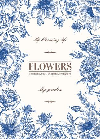 marcos decorativos: Vector de fondo floral con flores en azul. Anémona, rosa, eustoma, eustoma. Vectores