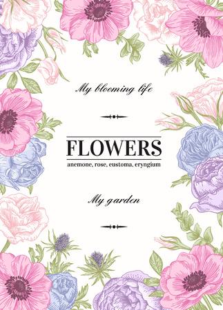 borde de flores: Vector de fondo floral con flores en colores pastel. Anémona, rosa, eustoma, eustoma. Vectores