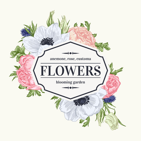 Vintage vector frame with summer flowers in pastel colors. Anemone, rose, eustoma, eryngium.