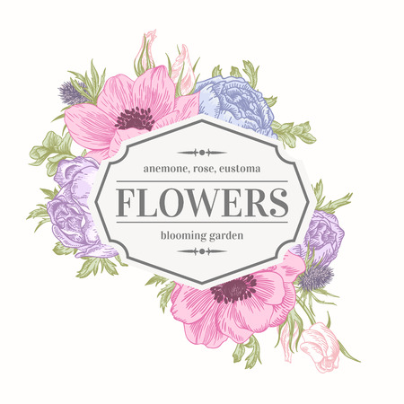 anemone: Vintage vector frame with summer flowers in pastel colors. Anemone, rose, eustoma, eryngium.
