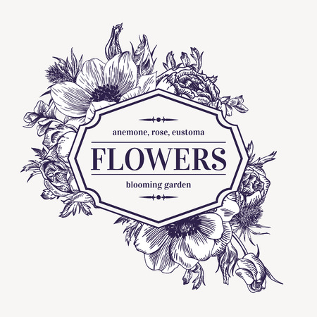 anemone: Vintage vector frame with summer flowers. Black and white. Anemone, rose, eustoma, eryngium.