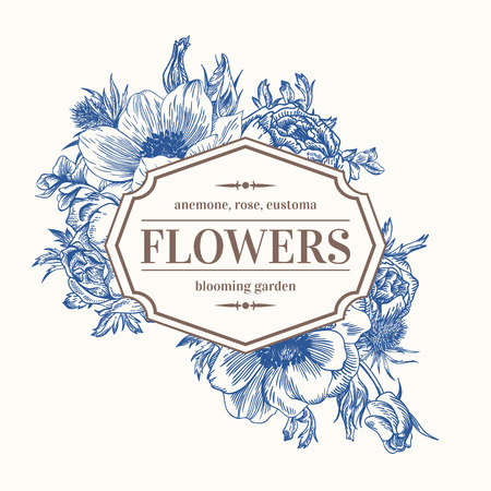Vintage vector frame with summer flowers in blue. Anemone, rose, eustoma, eryngium. Illustration