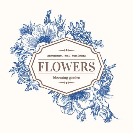 Vintage vector frame with summer flowers in blue. Anemone, rose, eustoma, eryngium. Иллюстрация