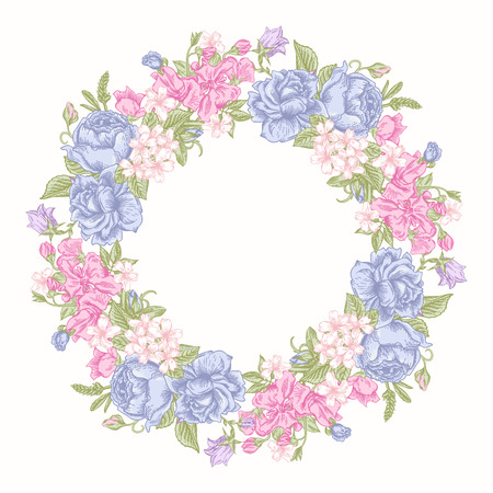 buttercups: Invitation card with floral round wreath in pastel colors colors. Roses, decorative peas, buttercups. Vintage vector illustration.