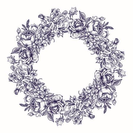花丸の花輪と招待状。バラ、装飾的なエンドウ豆、キンポウゲ。黒と白。ビンテージ ベクトルの図。